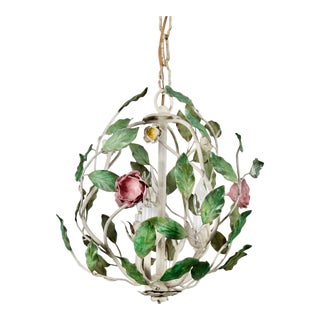 1960 Italian Tole Cage Chandelier For Sale