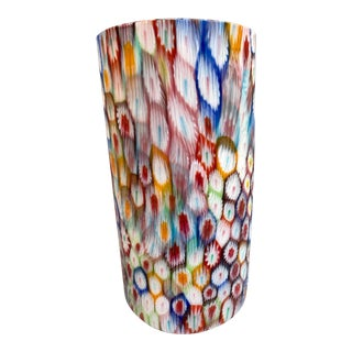 Vintage Fratelli Toso Murano Glass Millefiori Cylinder Vase For Sale