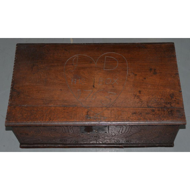 Early American 18th Century Carved Walnut Bible Box C.1763 For Sale - Image 3 of 11
