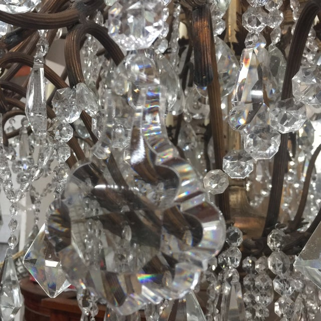 Art Deco 48-Light Bronze Colored Crystal Chandelier For Sale - Image 3 of 11