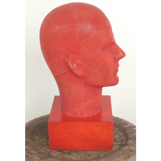 Contemporary Serge De Troyer Shagreen Head Sculpture For Sale - Image 3 of 10