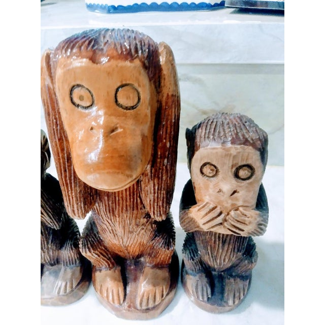 Set of 3 carved wood See no evil, hear no evil, speak no evil monkey statues. Sweet set expertly carved and stained and...