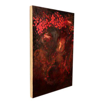 Abstract Oil On Canvas RED For Sale