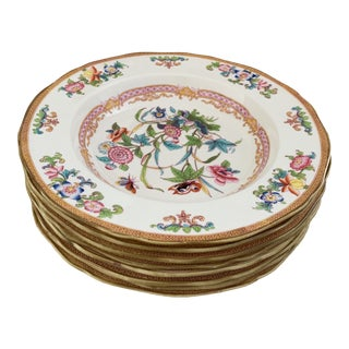 Antique English Minton Chinoiserie Shallow Dinner Bowls- Set of 8 For Sale