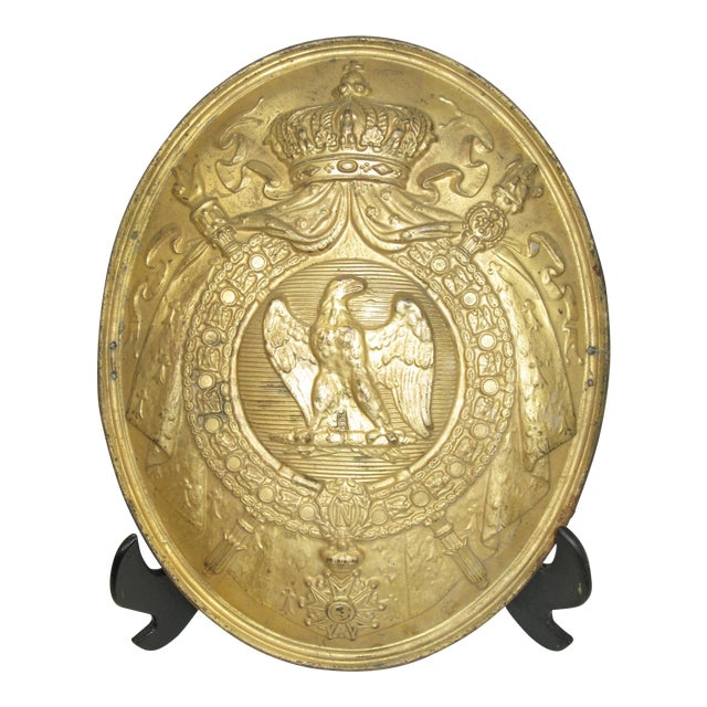 Antique French 1st Empire Brass Oval Notary Plaque For Sale