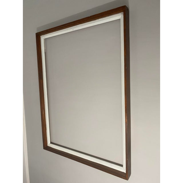 Traditional Mid 20th Century Traditional Wood Art Frame With White Accents For Sale - Image 3 of 11