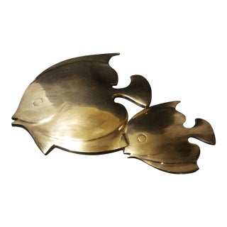 Mid-Century Brass Angel Fish Wall Hanging