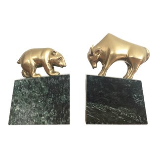 Vintage Brass Bear and Bull Bookends on Marble Bases - a Pair