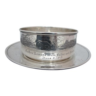 Antique Tiffany & Co Sterling Silver Children's Farm House Bowl & Underplate For Sale