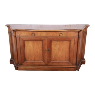 Baker Furniture French Regency Cherry Wood Sideboard Credenza or Bar Cabinet For Sale