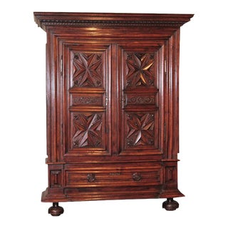Late 17th Century French Louis XIII Carved Walnut Armoire