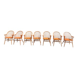 1980s Vintage Claud Bunyard Windsor Chairs - Set of 7 For Sale