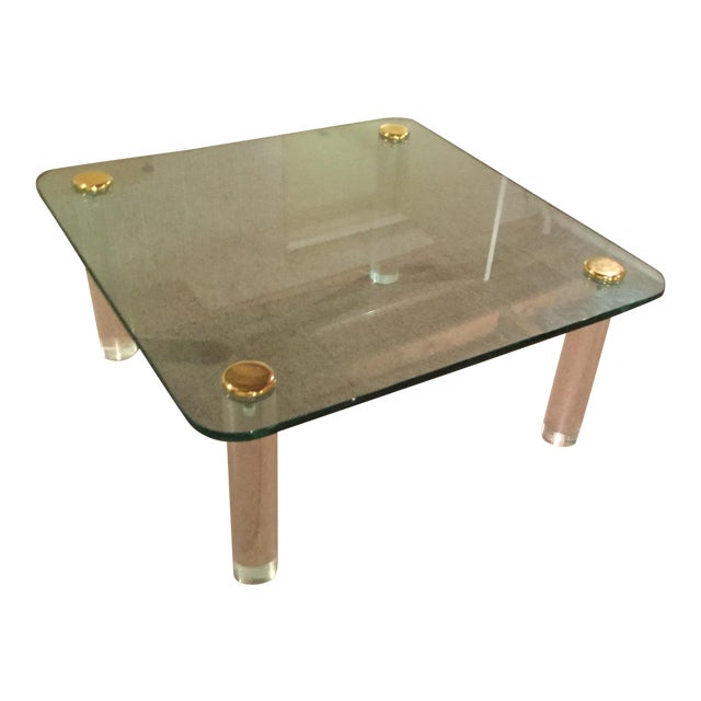 Gold 1970s Glass and Brass Table For Sale - Image 8 of 8