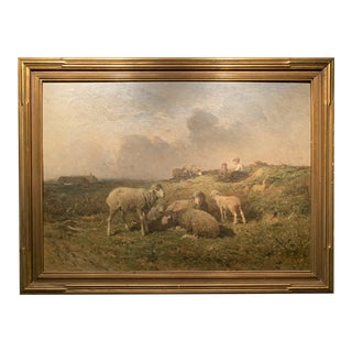 Brissot D Warburg Original Oil of Sheep and Shepherdess For Sale