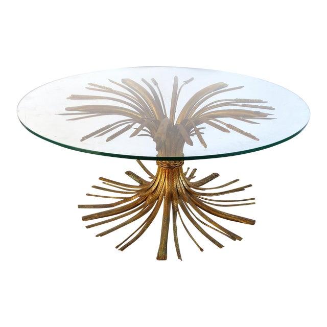 "Italian Gilt Iron ""Coco Chanel"" Style Wheat Sheaf Coffee Table For Sale"