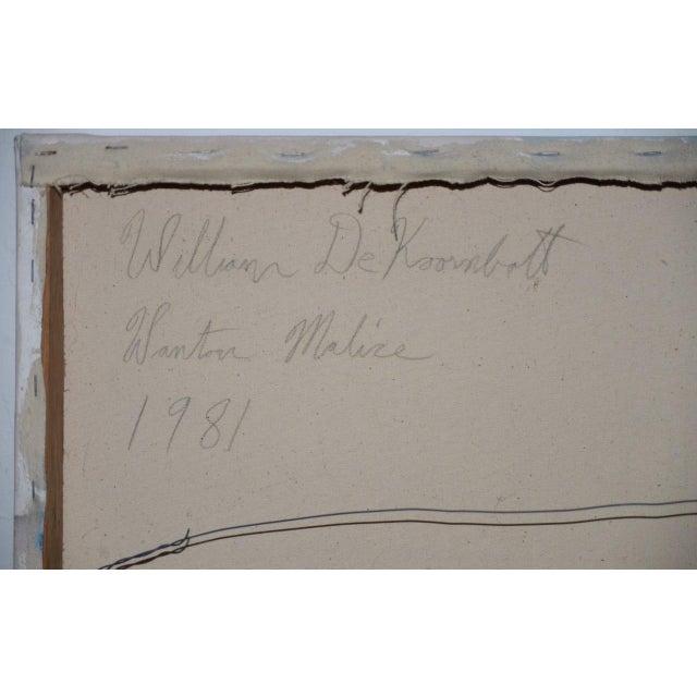 "Pink William DeKoornbolt ""Wonton Malice"" Original Mixed Media Abstract Painting C.1981 For Sale - Image 8 of 11"