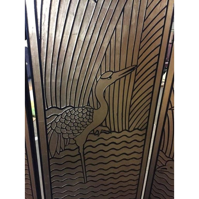 Art Deco Four-Panel Art Deco Style Gold and Black Floor Screen For Sale - Image 3 of 9