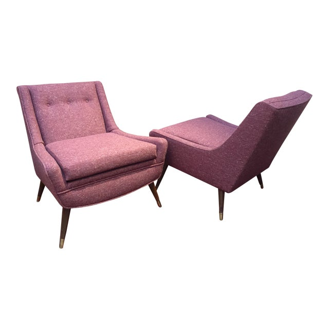 1950's Pink Modernist Lounge Chairs - A Pair For Sale