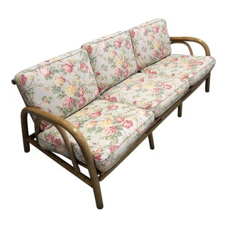 Vintage Shabby Chic Bamboo Floral Upholstered Sofa For Sale