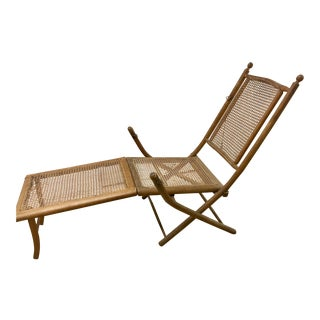 Early 20th Century Vintage American Folding Caned Chaise | Deck Chair For Sale