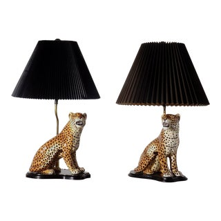 Large Italian Hand-Painted Porcelain Leopard Sculpture Mounted Lamps - a Pair For Sale