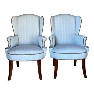 Pair of Wingback Studded Captain Chairs For Sale