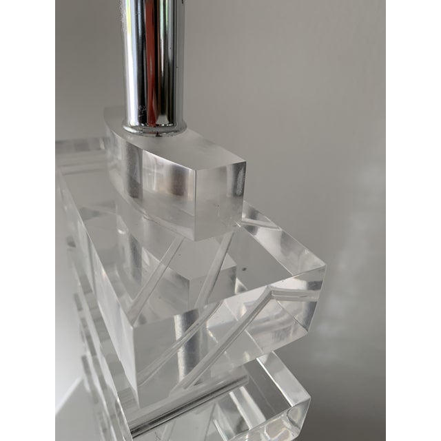 Transparent 1970's Lucite Stacked Lamp For Sale - Image 8 of 13