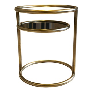 1970s Milo Baughman Two-Tier Swivel Round Accent Table For Sale
