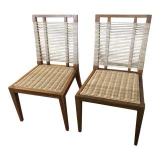 Organic Modern Pair of Raffia Rope & Teak Side Chairs -A Pair For Sale