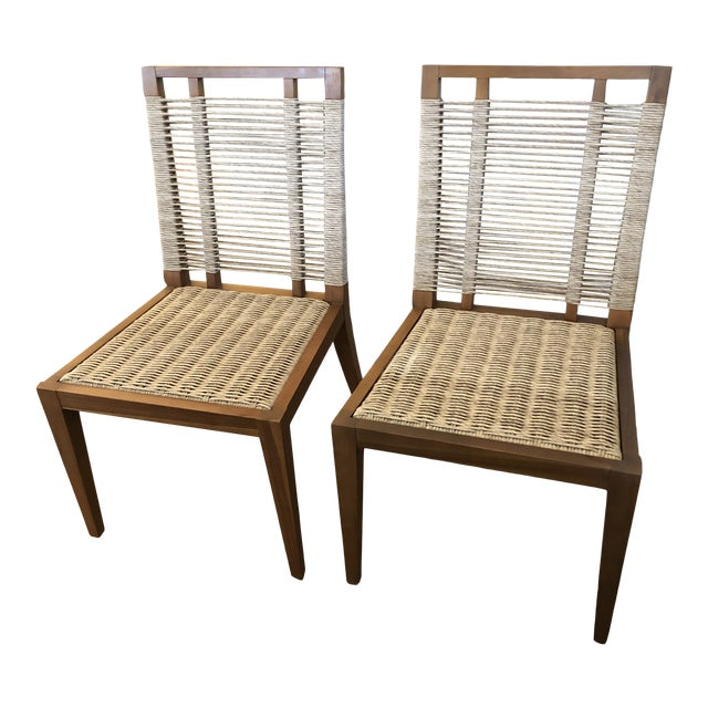 Organic Modern Pair of Raffia Rope & Teak Side Chairs -A Pair For Sale