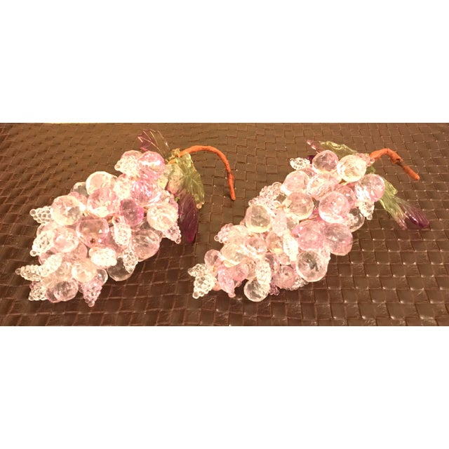 Mid-Century Modern Pink & Clear Faceted Lucite Grapes - A Pair For Sale - Image 3 of 9