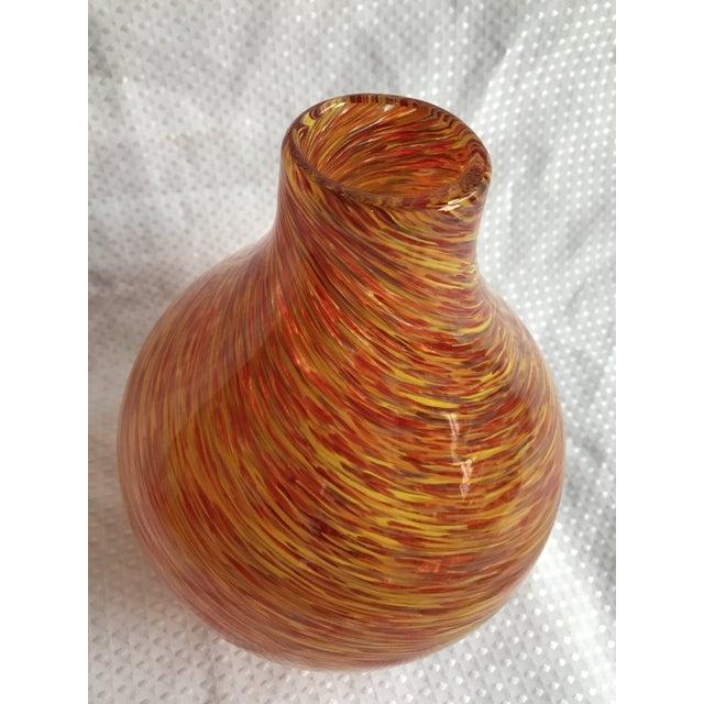 Large Murano Swirling Striped Orange Glass Vase Chairish