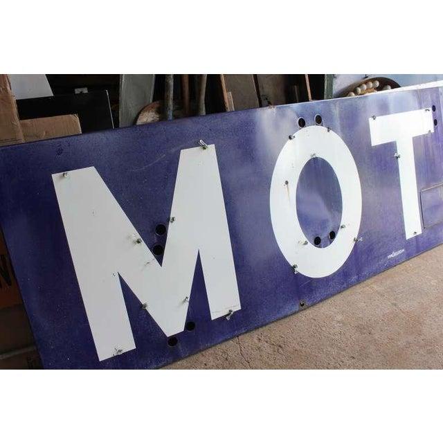 """1930's Vintage Porcelain """"Motel"""" Sign For Sale - Image 4 of 4"""