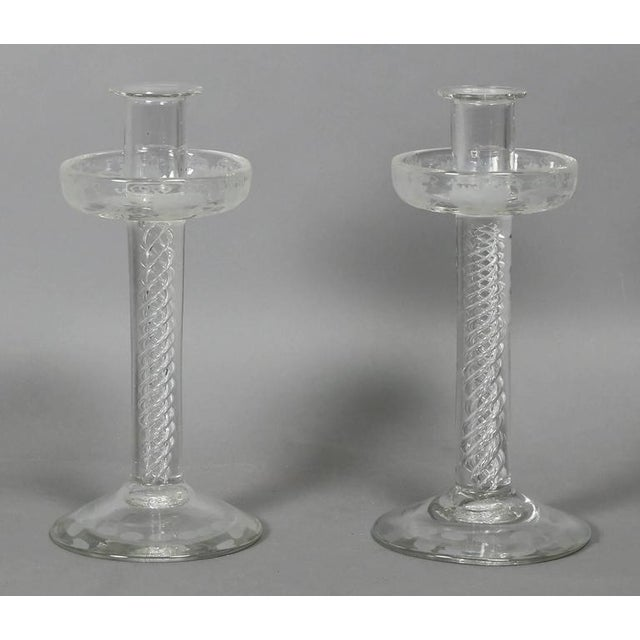 Glass Pair of Victorian Etched Glass Candlesticks For Sale - Image 7 of 7