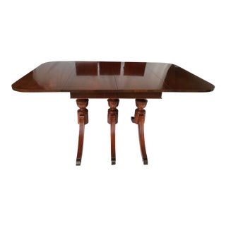 Traditional Three-Pedestal Mahogany Dining Table With Three Extensions For Sale