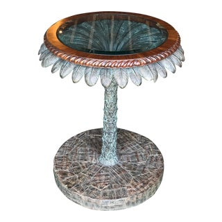 Maitland-Smith Verdigris Bronze Patina Palm Tree Table For Sale