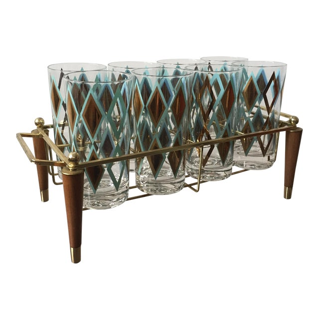 Mid-Century Brass and Teak Caddy With 8 Glasses - Image 1 of 5