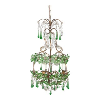 1920s French Green Glass and Crystal Chandelier For Sale