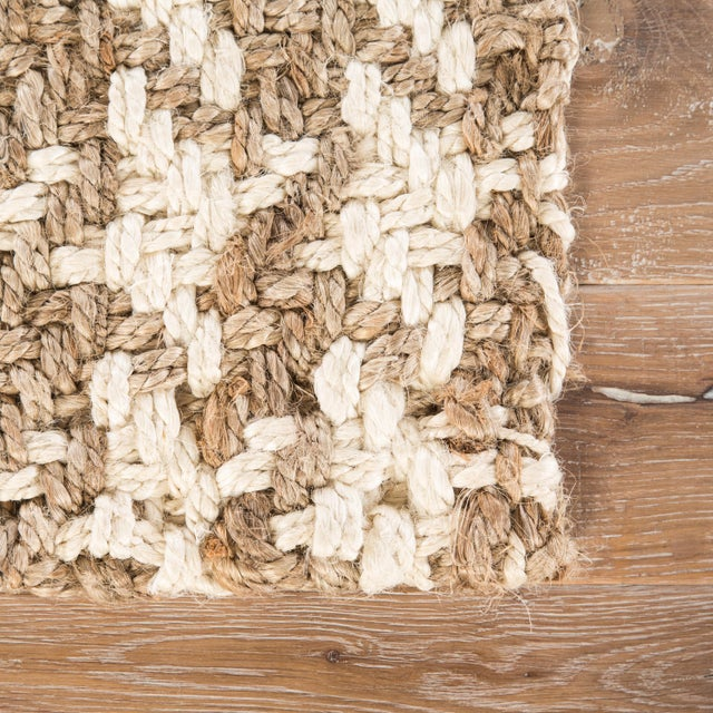 Contemporary Jaipur Living Tracie Natural Geometric White/ Taupe Area Rug - 9′ × 12′ For Sale - Image 3 of 6