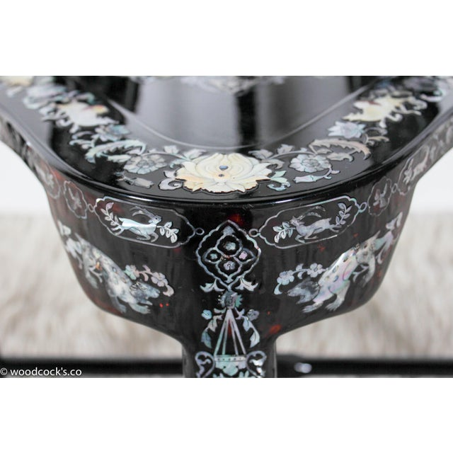 French Empire Mother-Of-Pearl Inlaid & Lacquer Corner Chair For Sale - Image 10 of 12