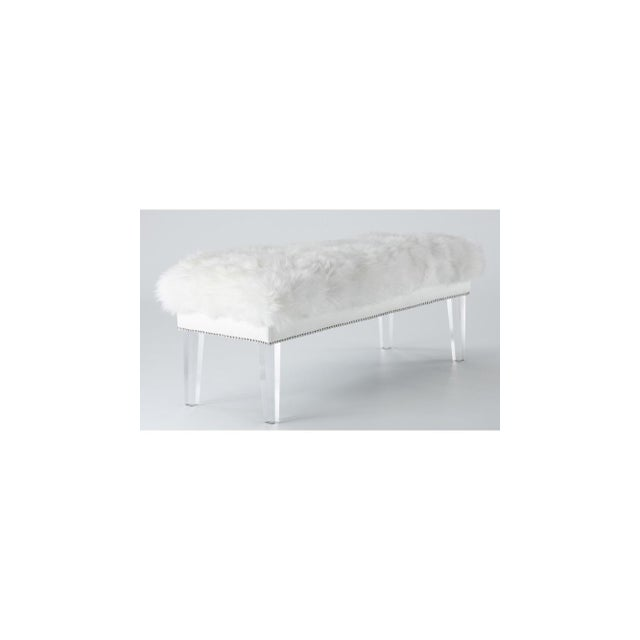 Sheepskin Lucite Bench - Image 3 of 4