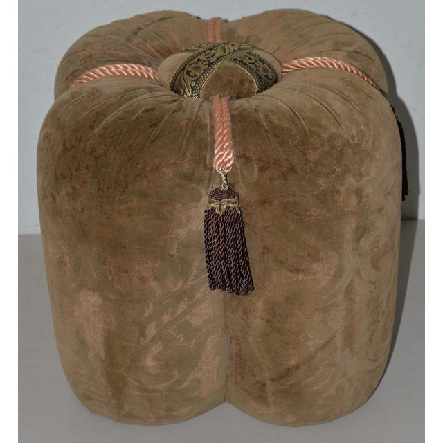 Plush Velour Fleur De Lis Ottoman / Vanity Seat For Sale In San Francisco - Image 6 of 6