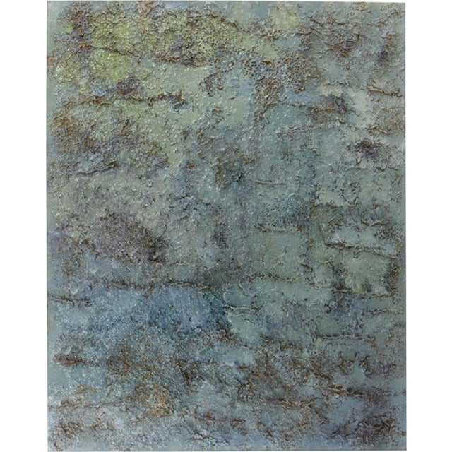 Highly textural work with references to Brutalism in vivid blues by California artist Ricardo Ramirez. Resin and acrylic...