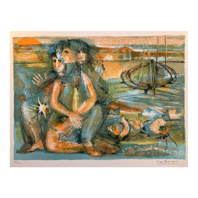1960s Jean Camberoque French Beach Lithograph For Sale