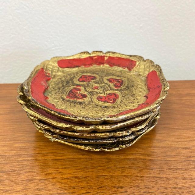 Italian Gold Gilt Florentine Coasters - Set of 5 For Sale - Image 4 of 5