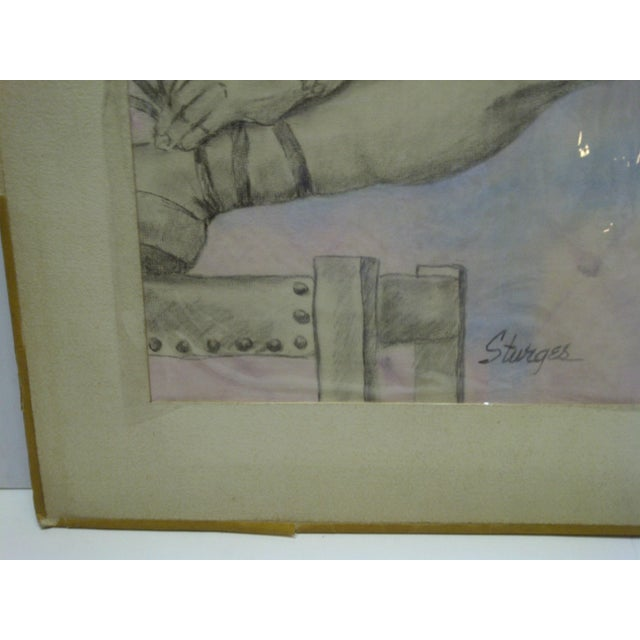 "Tom Sturges Jr. ""Curtain Time"" Original Matted Drawing For Sale - Image 5 of 7"