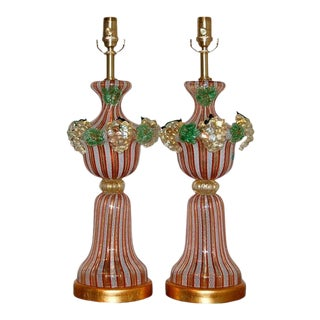 Dino Martens Vintage Murano Glass Table Lamps Orange For Sale