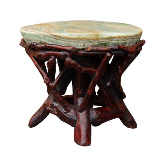 Crystal Jade Stone Top Bamboo Accent Stool For Sale