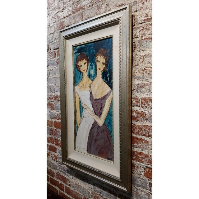 "Charles Levier ""Two Girlfriends"" Oil Painting C.1960s For Sale In Los Angeles - Image 6 of 9"