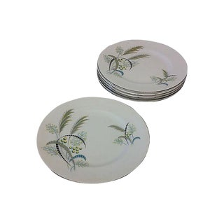 English Floral Canapé Plates - Set of 6 For Sale